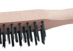 Drôtená kefa 1406 / 4 rad drevená rúčka - na čistenie kovových predmetov 4 radový
